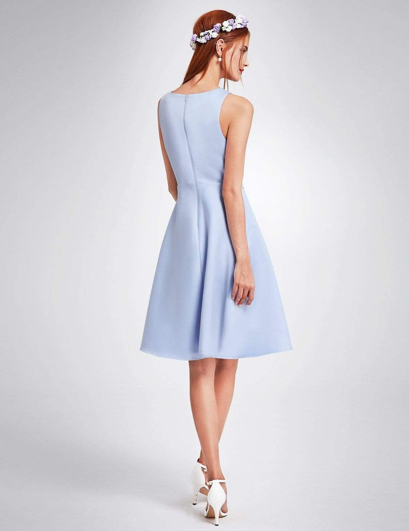 Short V Neck Bridesmaid Dress-Sky Blue 3