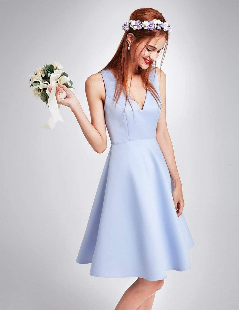 Short V Neck Bridesmaid Dress-Sky Blue 4
