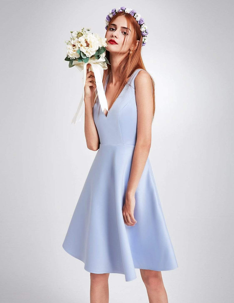 Short V Neck Bridesmaid Dress-Sky Blue 5