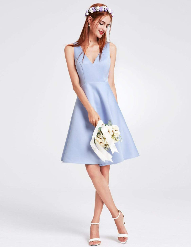Short V Neck Bridesmaid Dress-Sky Blue 1