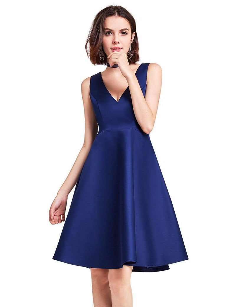 Short V Neck Bridesmaid Dress-Navy Blue 2