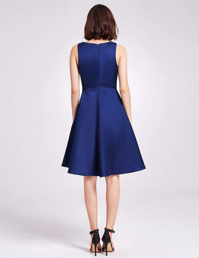 Short V Neck Bridesmaid Dress-Navy Blue 3