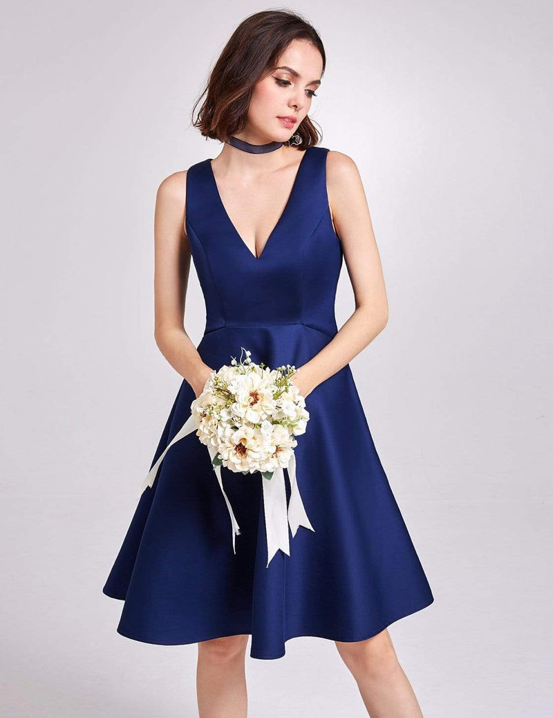 Short V Neck Bridesmaid Dress-Navy Blue 4