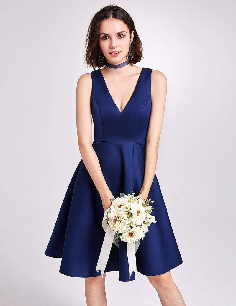 Short V Neck Bridesmaid Dress-Navy Blue 5