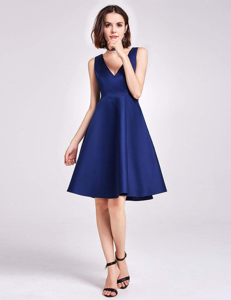 Short V Neck Bridesmaid Dress-Navy Blue 1