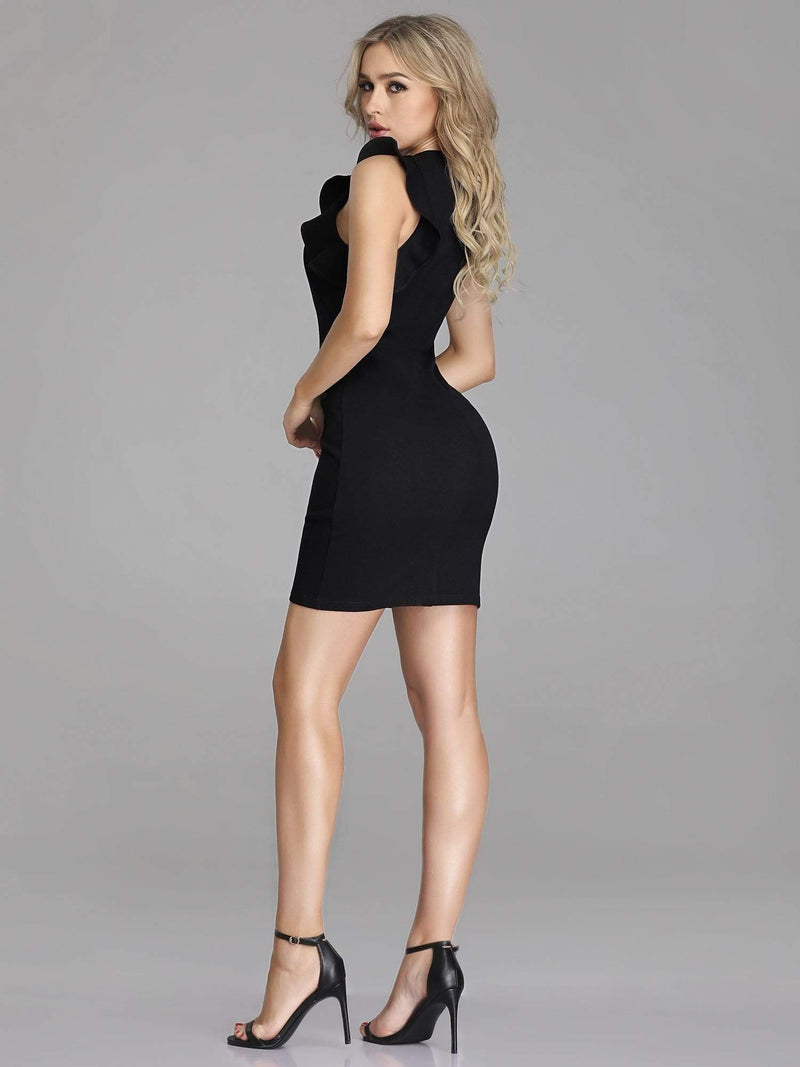 Unique Short Fitted Little Black Dress-Black 4