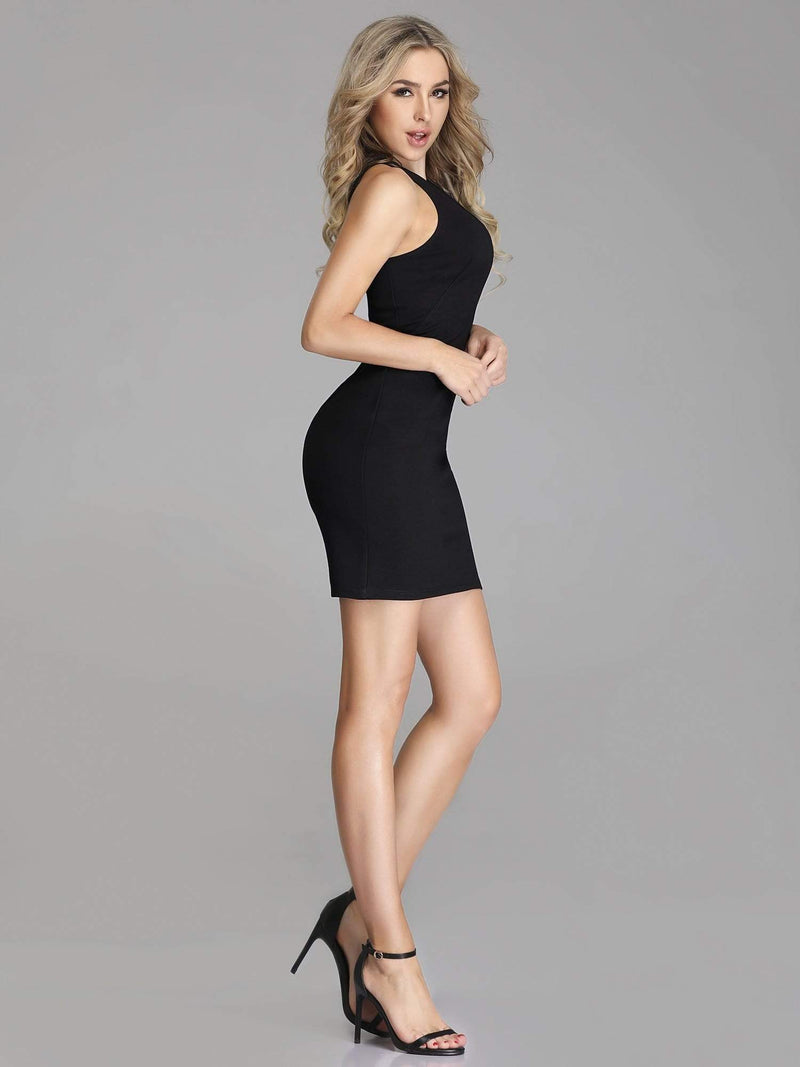 Unique Short Fitted Little Black Dress-Black 6