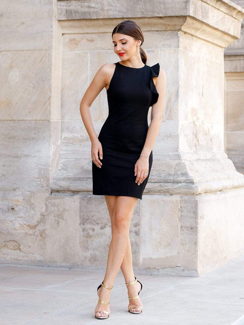 Unique Short Fitted Little Black Dress-Black 1