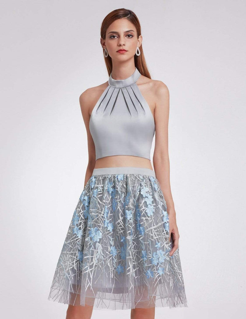 Halter Neck Crop Top And Skirt Set-Grey 2