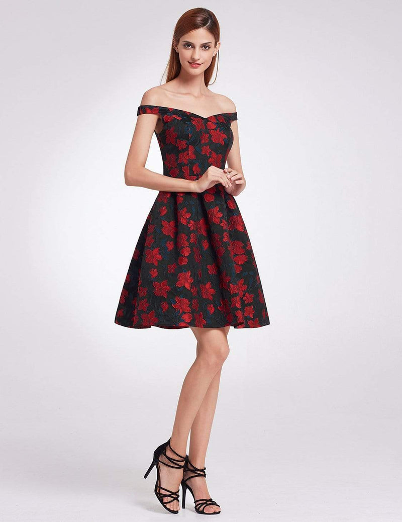 Retro Off Shoulder Fit And Flare Party Dress-Navy & Red 5