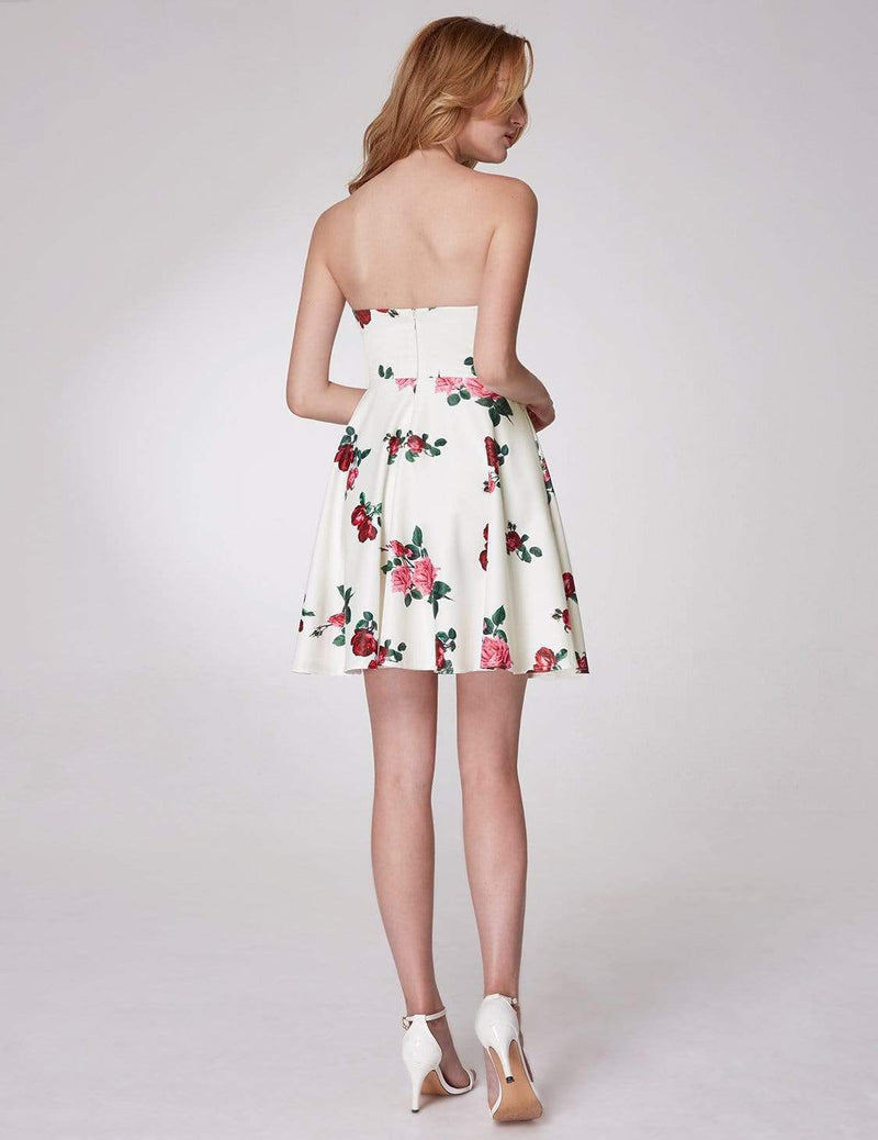 Strapless Rose Print Party Dress-White 3