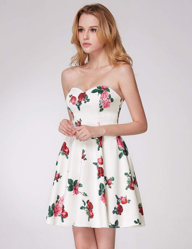 Strapless Rose Print Party Dress-White 4