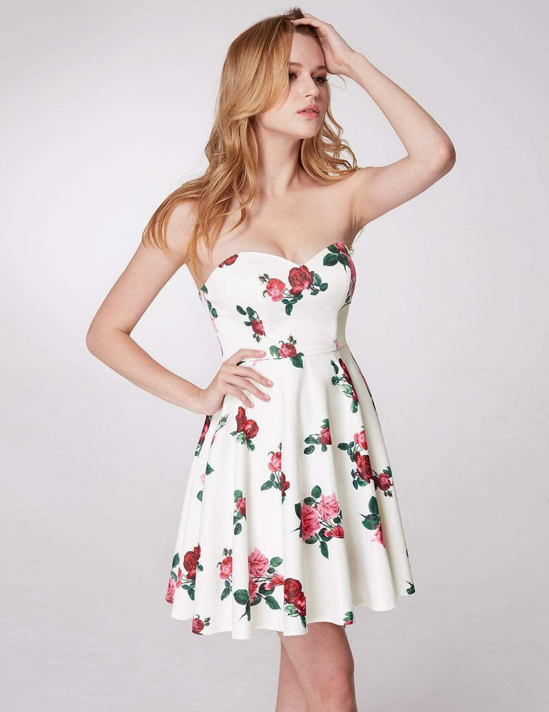Strapless Rose Print Party Dress-White 5