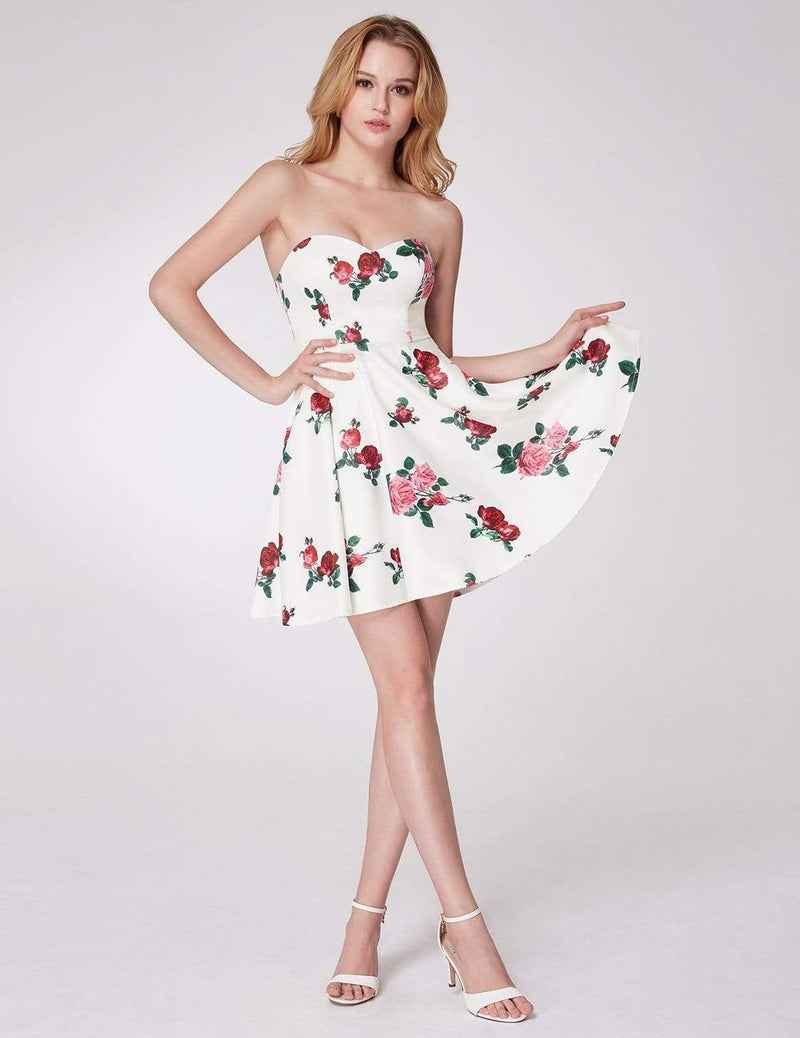 Strapless Rose Print Party Dress-White 1