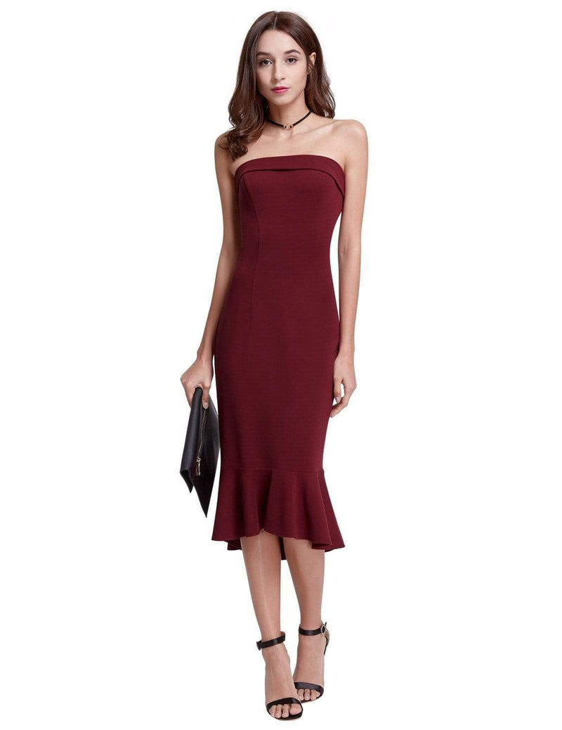 Sexy Fitted Strapless Cocktail Dress-Burgundy 2