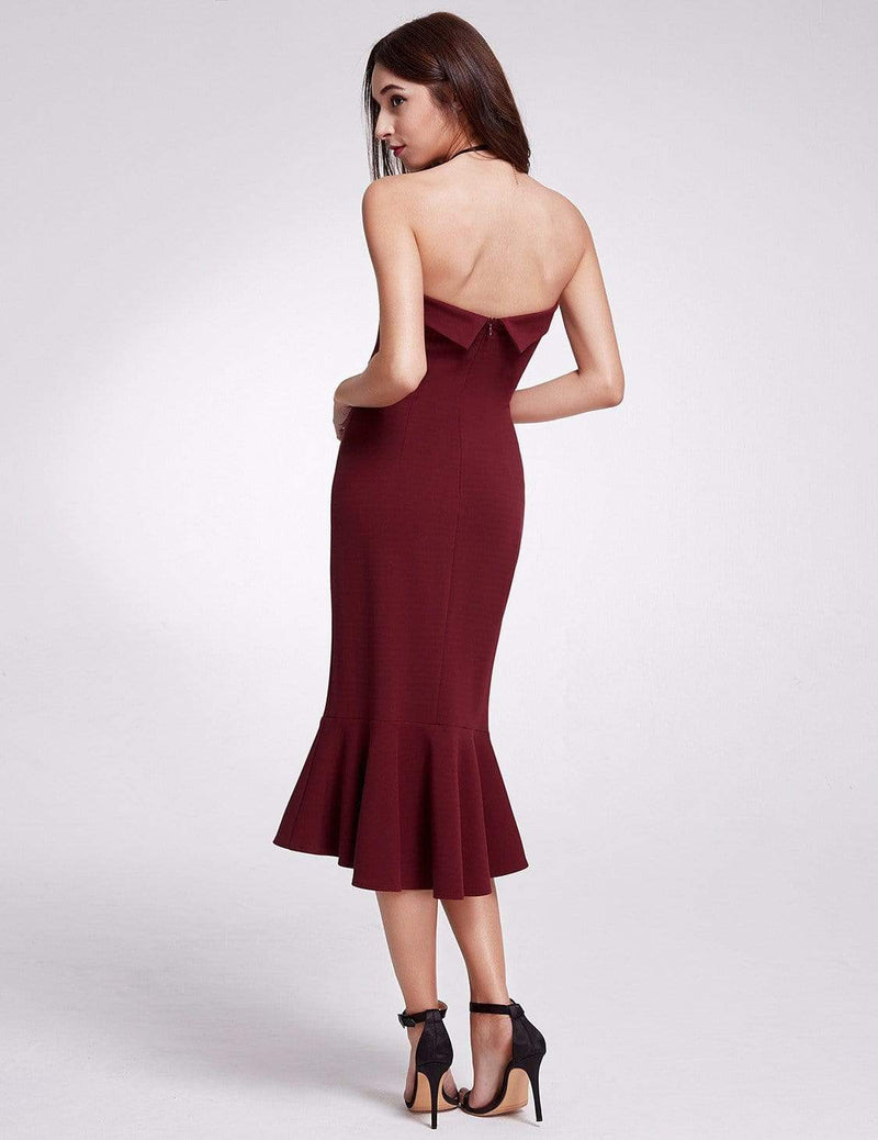 Sexy Fitted Strapless Cocktail Dress-Burgundy 3