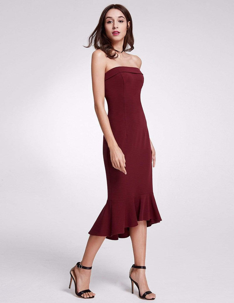 Sexy Fitted Strapless Cocktail Dress-Burgundy 4
