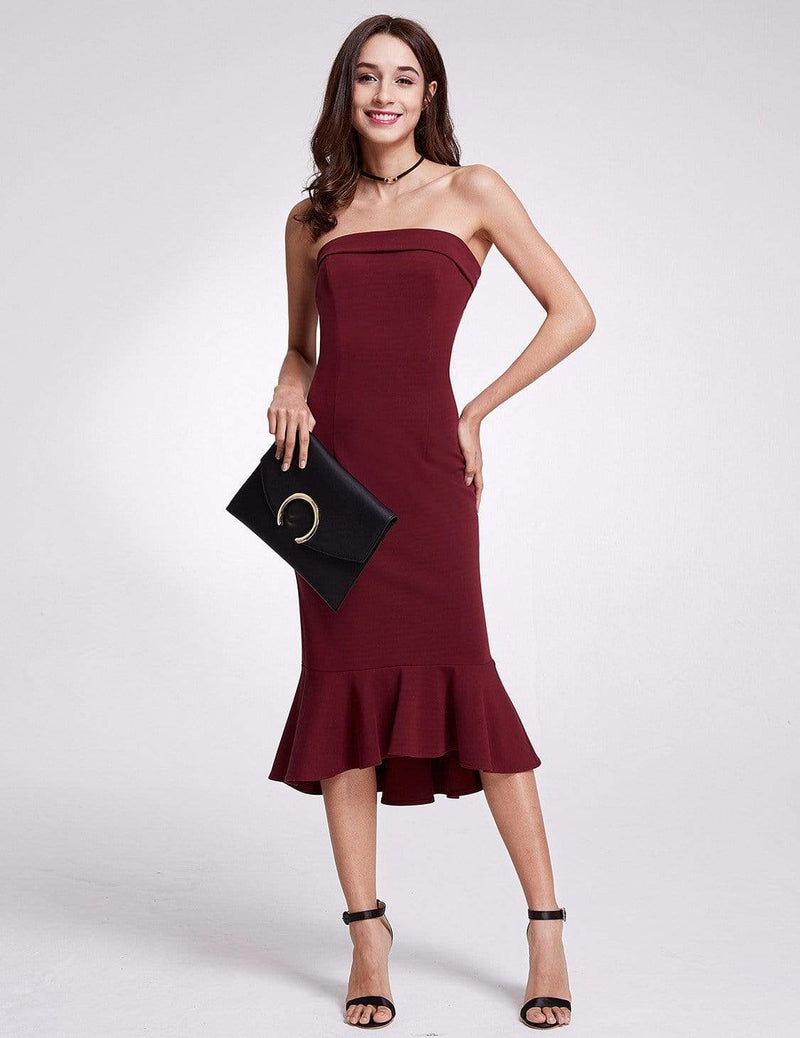 Sexy Fitted Strapless Cocktail Dress-Burgundy 5