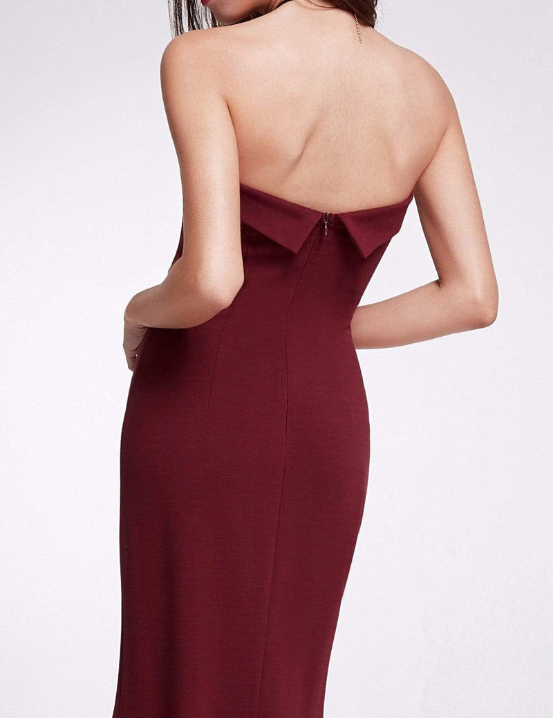 Sexy Fitted Strapless Cocktail Dress-Burgundy 6
