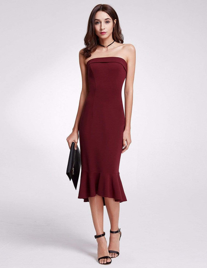 Sexy Fitted Strapless Cocktail Dress-Burgundy 1