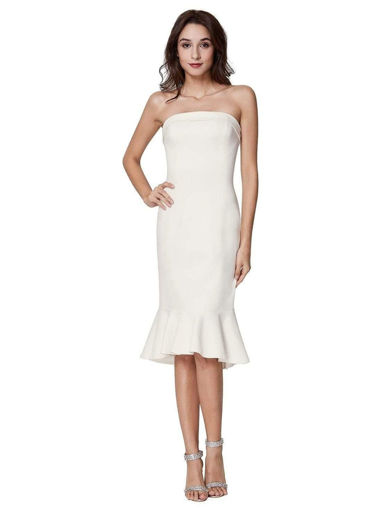 Sexy Fitted Strapless Cocktail Dress-White 2