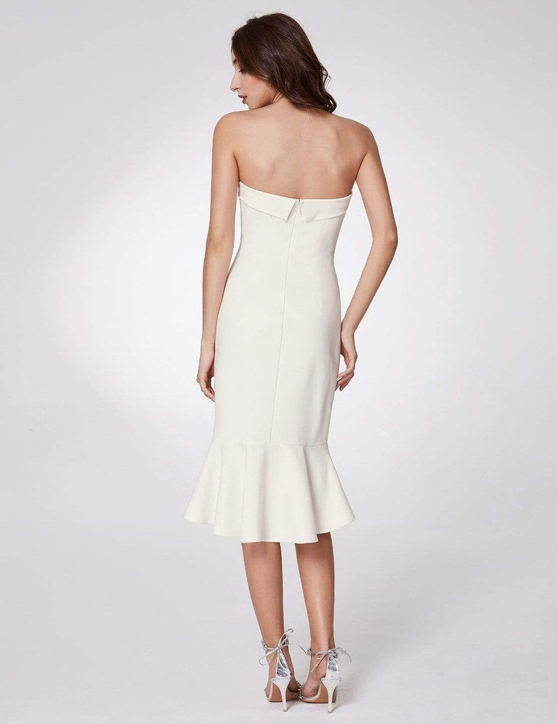 Sexy Fitted Strapless Cocktail Dress-White 3