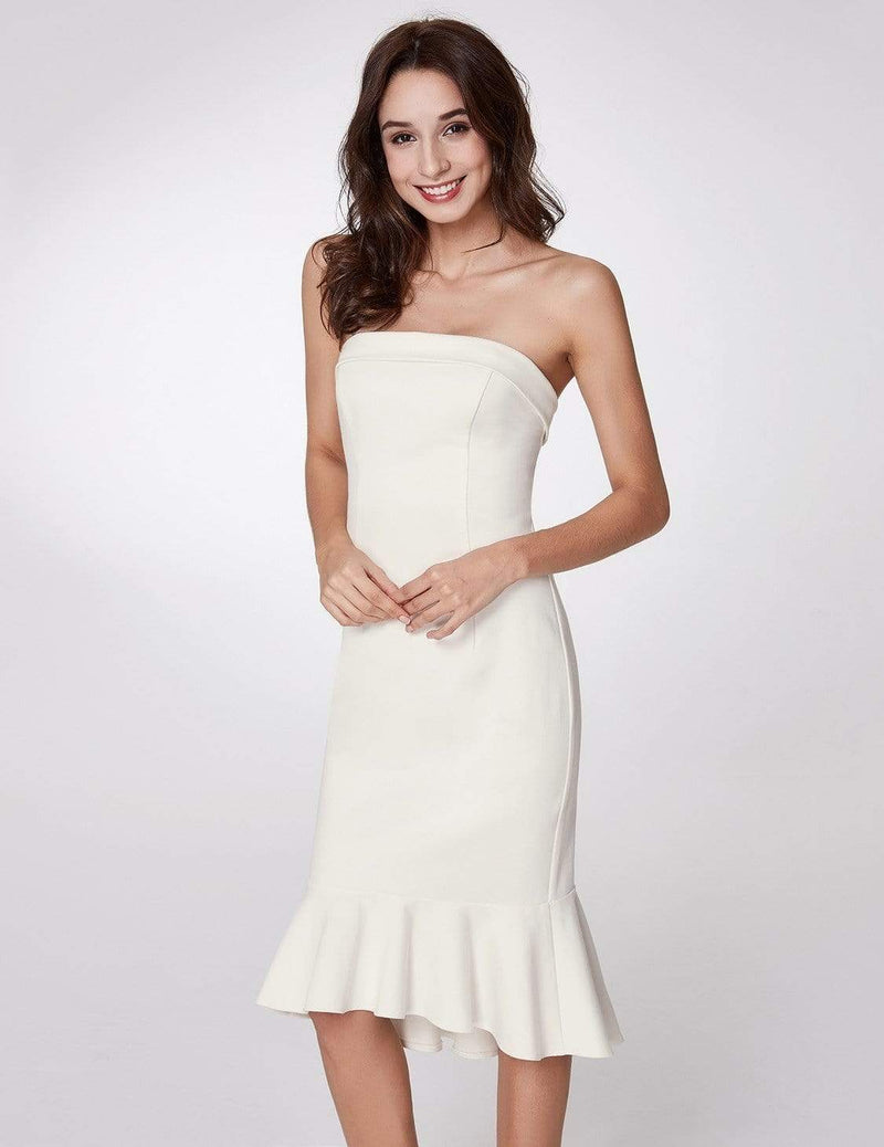 Sexy Fitted Strapless Cocktail Dress-White 4