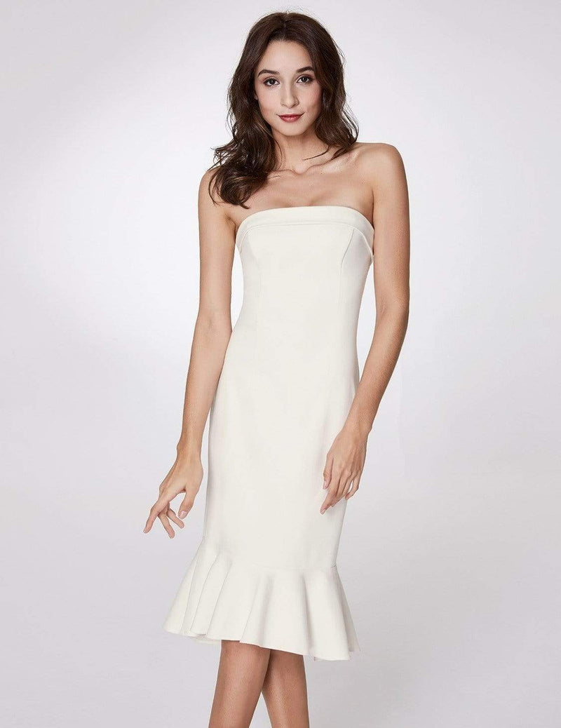 Sexy Fitted Strapless Cocktail Dress-White 5
