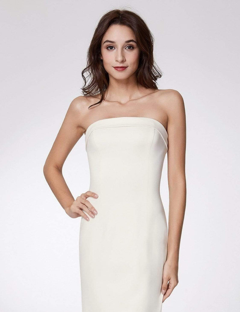 Sexy Fitted Strapless Cocktail Dress-White 6
