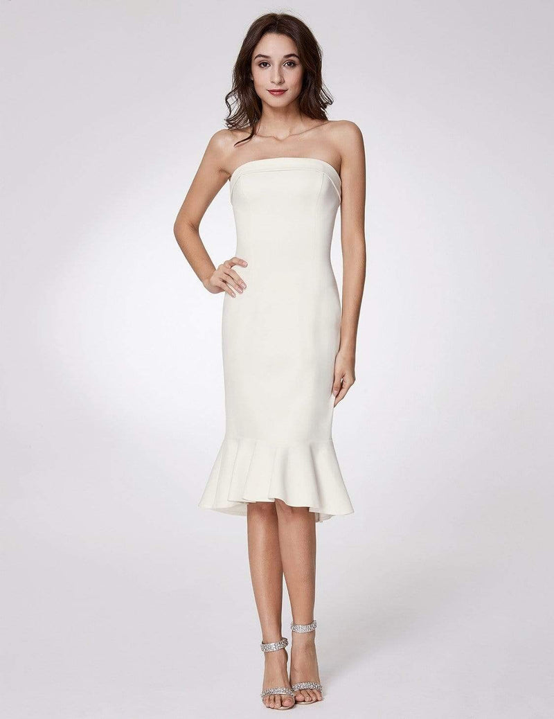 Sexy Fitted Strapless Cocktail Dress-White 1
