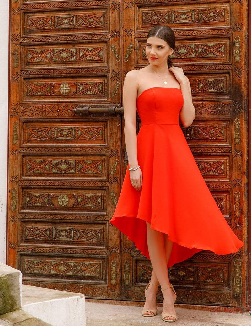 Strapless A Line Party Dress-Orange 1