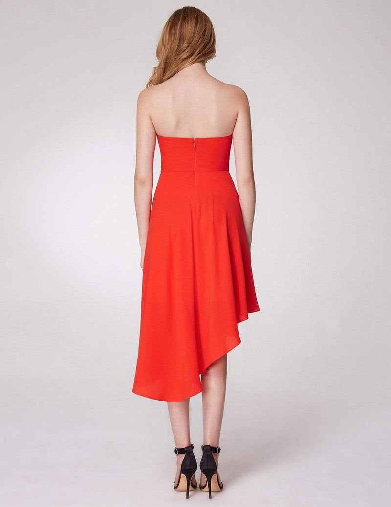 Strapless A Line Party Dress-Orange 6