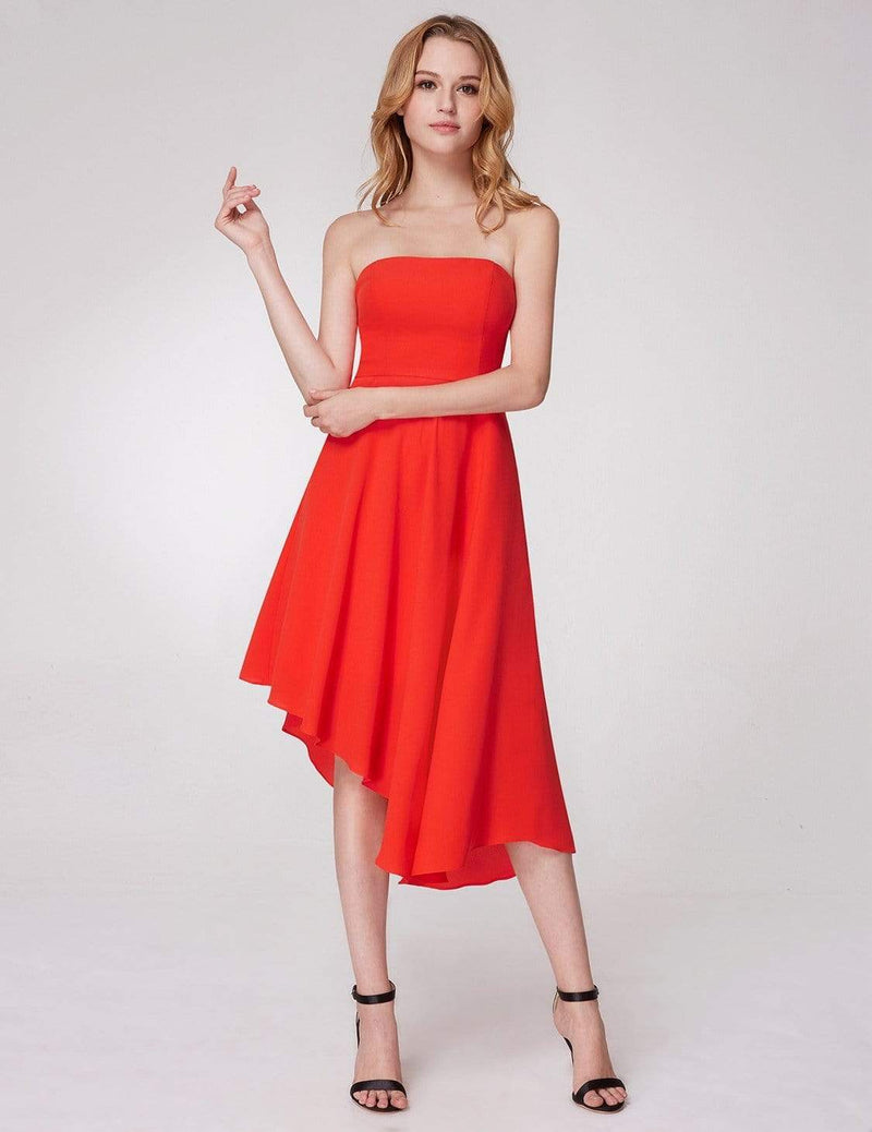Strapless A Line Party Dress-Orange 2