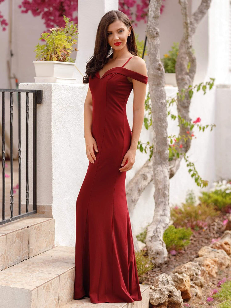 Off-The-Shoulder Sweetheart Neckline Dress-Burgundy 1