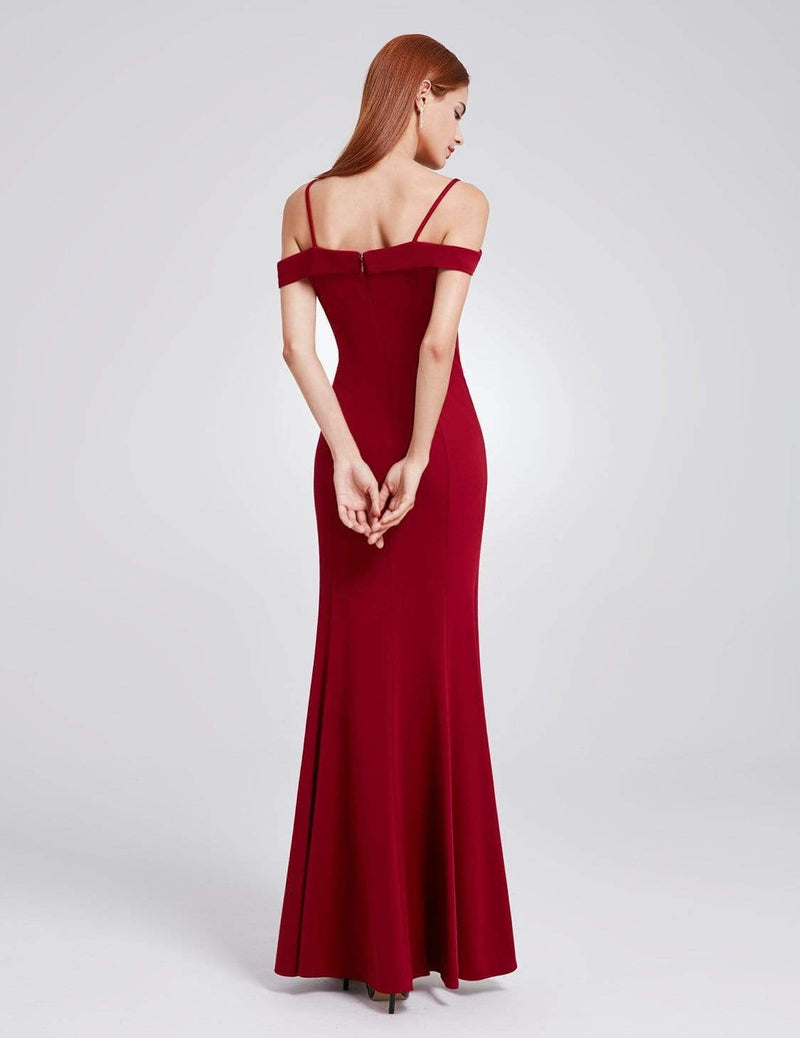 Off-The-Shoulder Sweetheart Neckline Dress-Burgundy 3