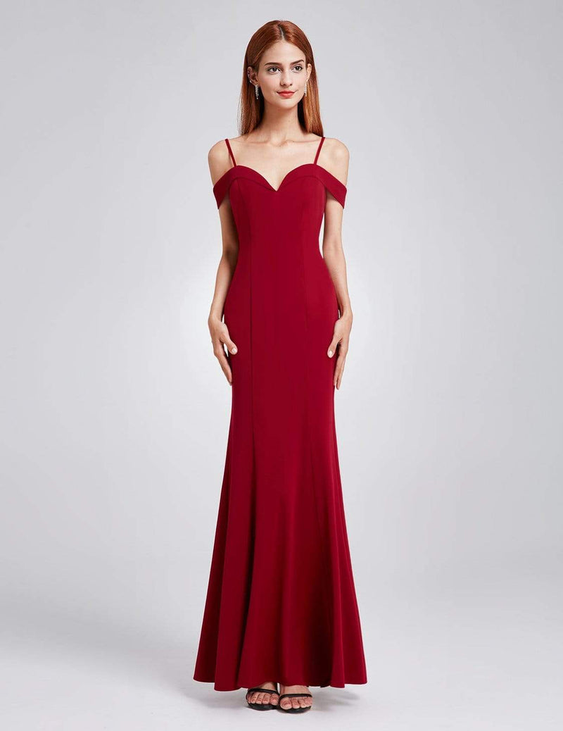 Off-The-Shoulder Sweetheart Neckline Dress-Burgundy 4