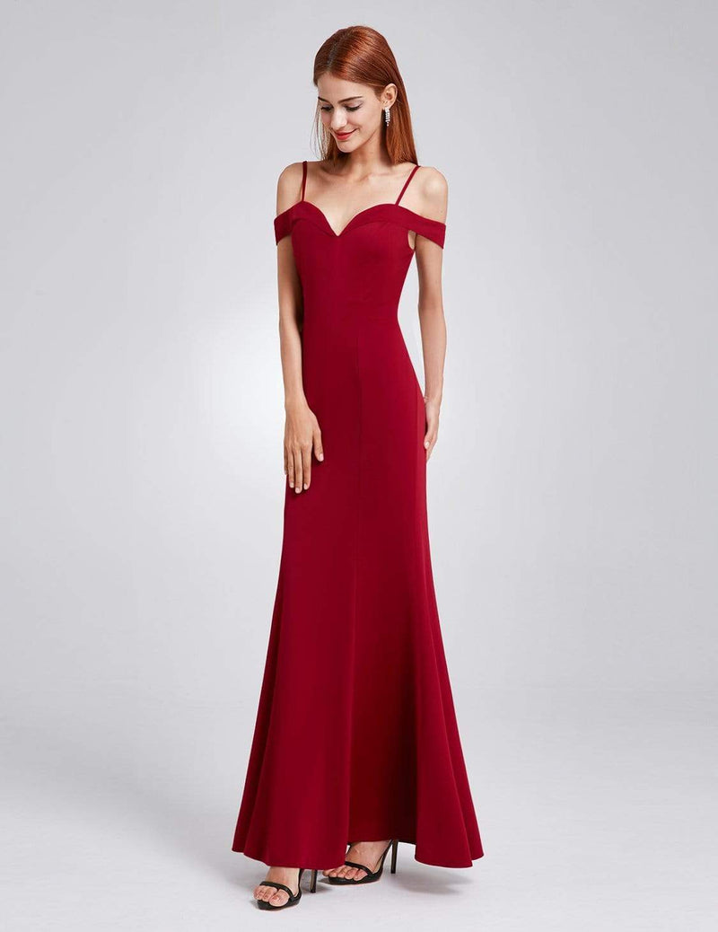 Off-The-Shoulder Sweetheart Neckline Dress-Burgundy 5