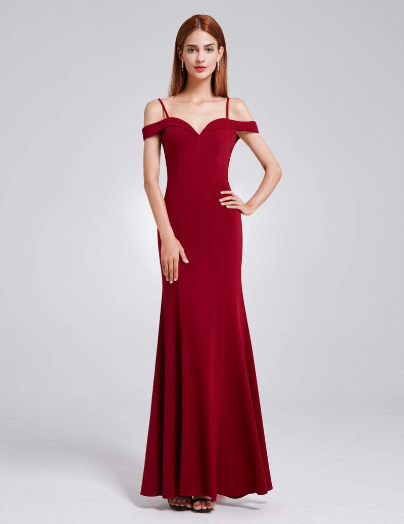 Off-The-Shoulder Sweetheart Neckline Dress-Burgundy 2