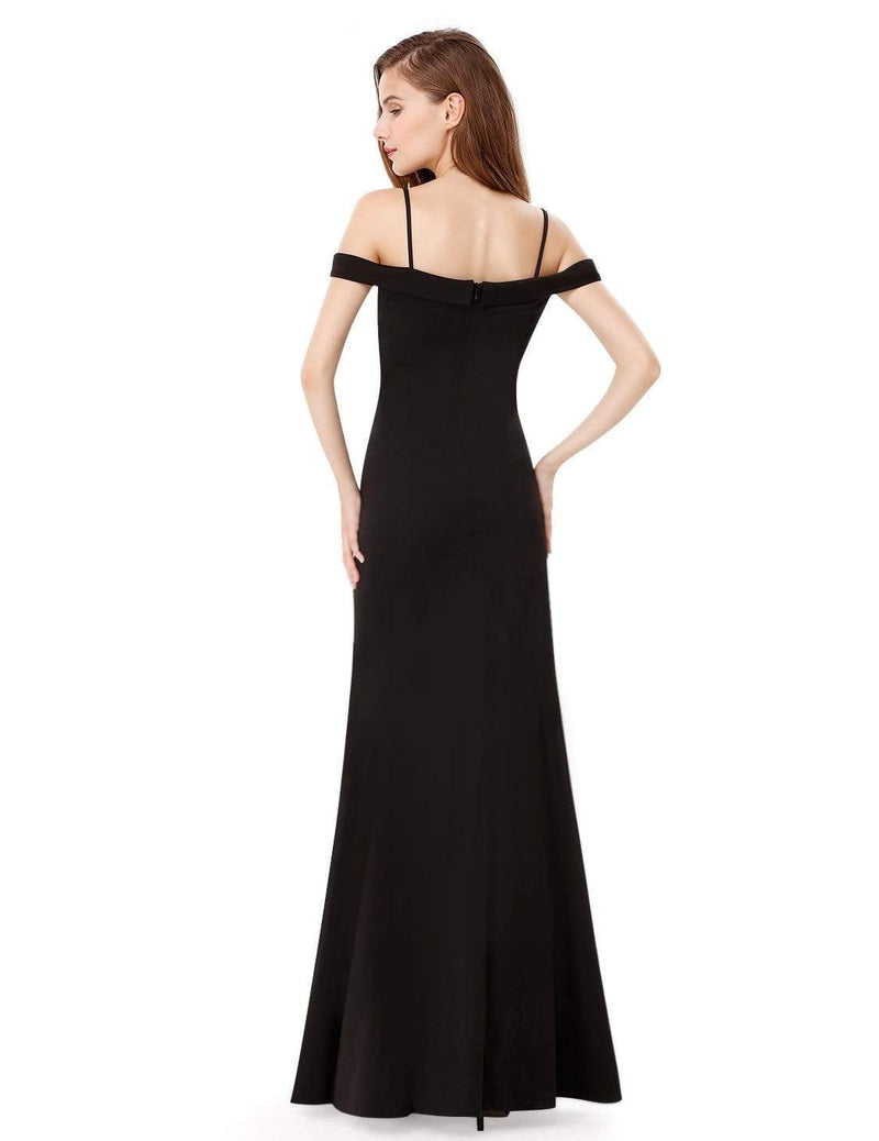 Off-The-Shoulder Sweetheart Neckline Dress-Black 3