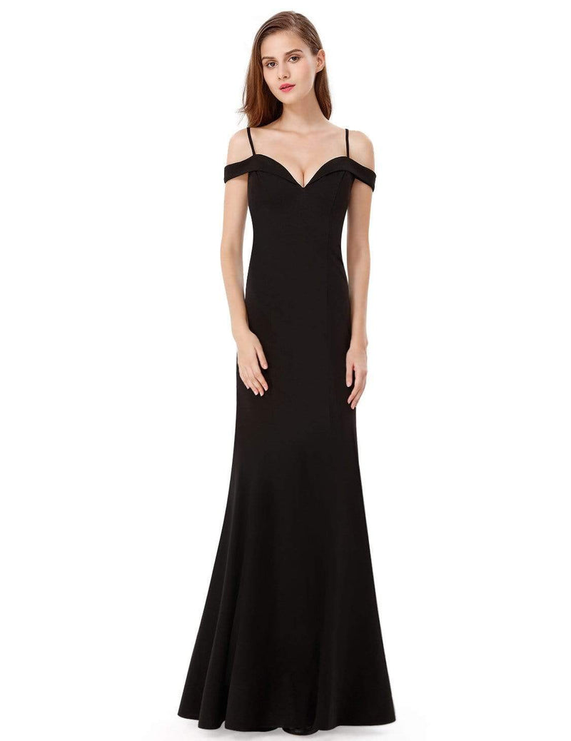 Off-The-Shoulder Sweetheart Neckline Dress-Black 5