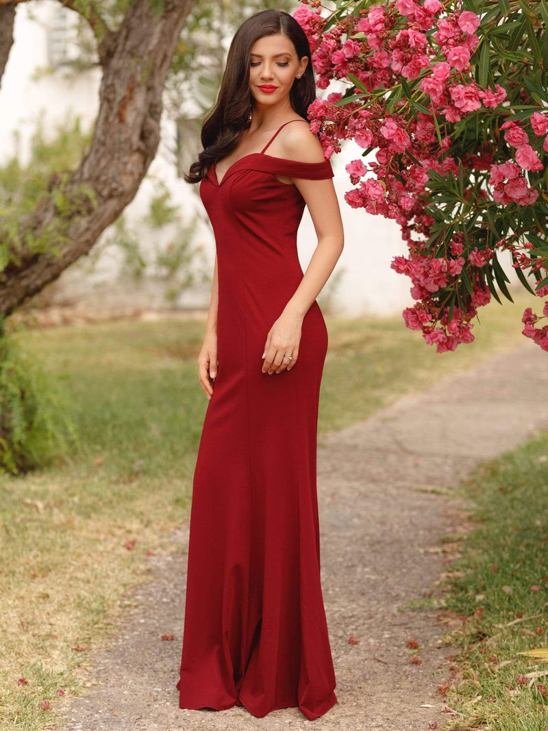 Off-The-Shoulder Sweetheart Neckline Dress-Red 11
