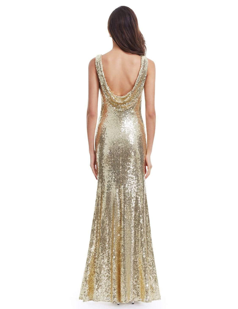 Love Sparkles Sleeveless Long Sequins Evening Gown-Gold 4