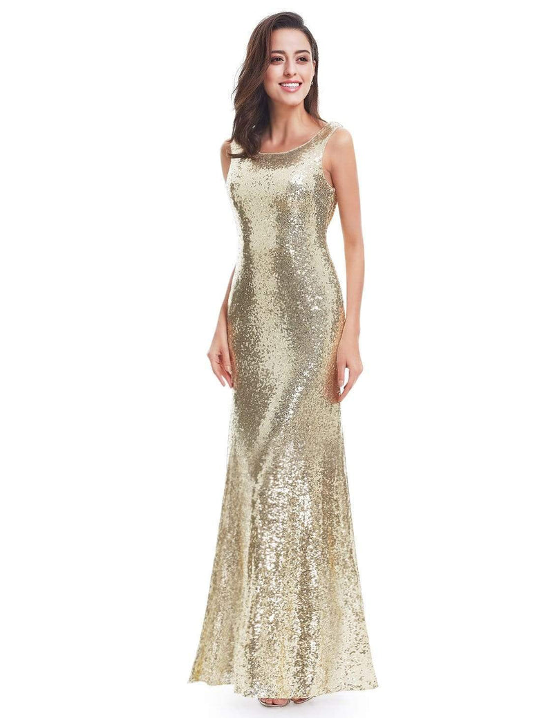 Love Sparkles Sleeveless Long Sequins Evening Gown-Gold 5