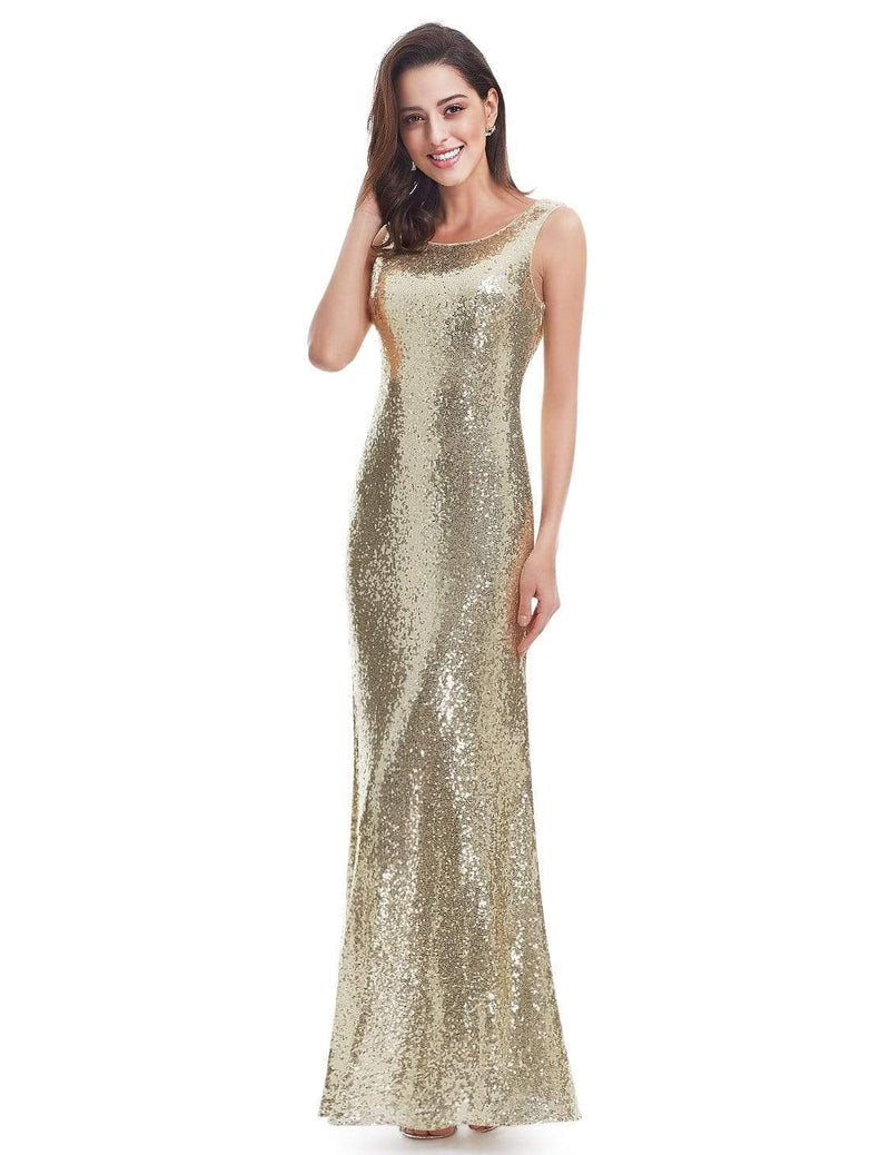 Love Sparkles Sleeveless Long Sequins Evening Gown-Gold 6