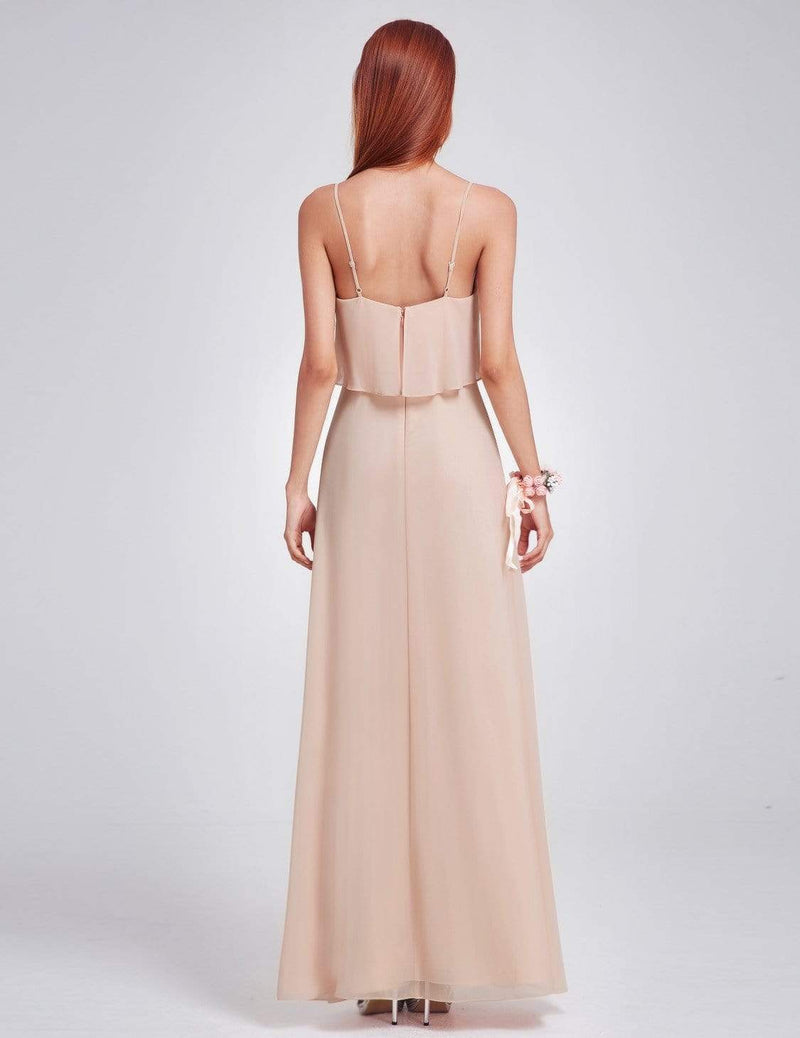 Floor Length Flowy Chiffon Bridesmaid Dress-Blush 3
