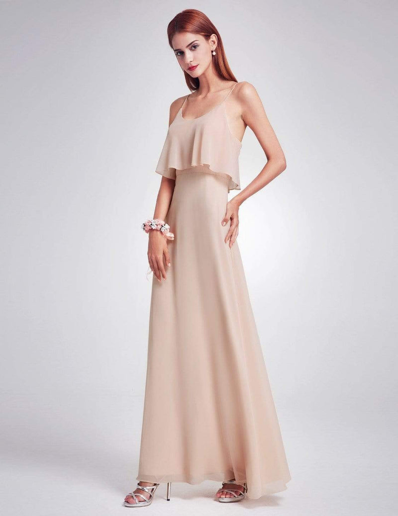 Floor Length Flowy Chiffon Bridesmaid Dress-Blush 4