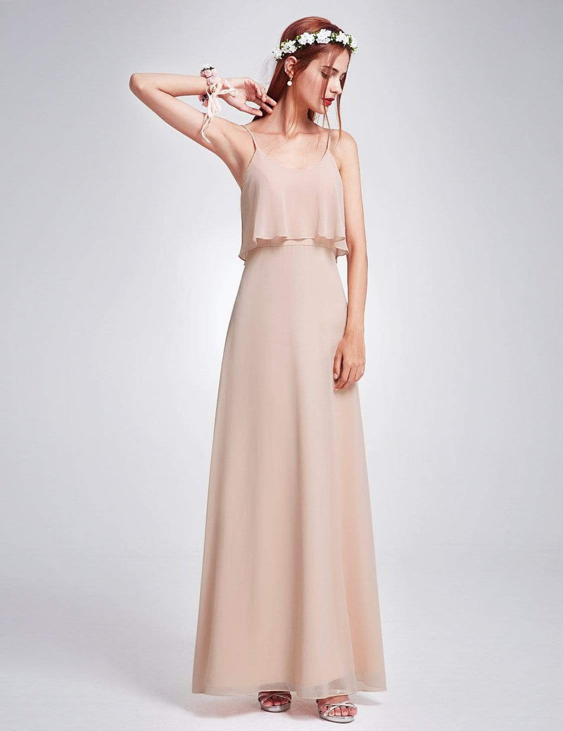 Floor Length Flowy Chiffon Bridesmaid Dress-Blush 5