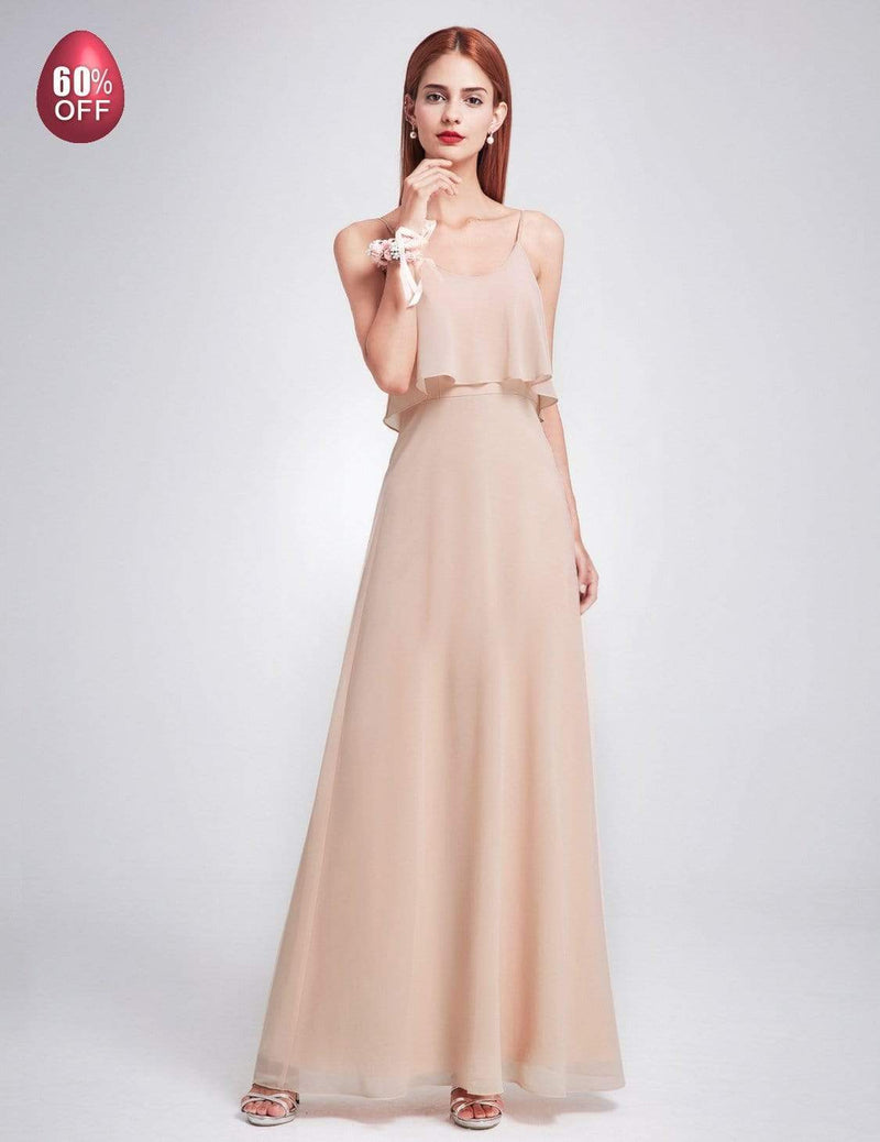 Floor Length Flowy Chiffon Bridesmaid Dress-Blush 7