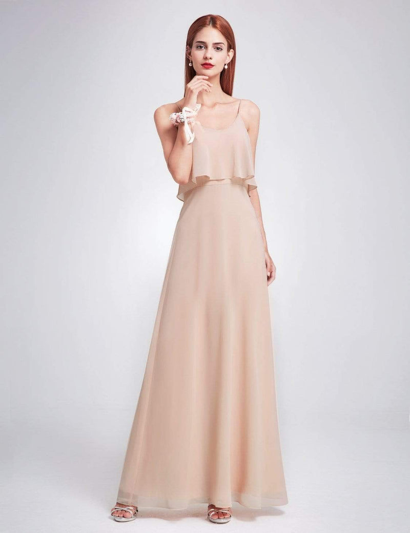 Floor Length Flowy Chiffon Bridesmaid Dress-Blush 1