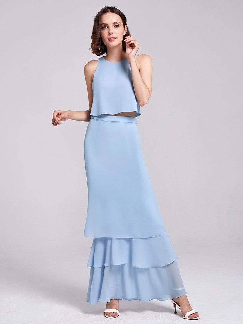 Two Piece Maxi Skirt And Top Bridesmaid Set-Sky Blue 2